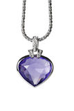 Silver pendant and blue heart shaped gemstone Stock Photo