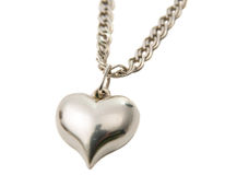 Silver pendant heart isolated Stock Photography