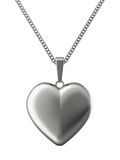 Silver pendant in shape of heart on chain Stock Photo