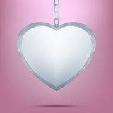 Silver pendant in shape of heart on chain. EPS 8 Royalty Free Stock Photo