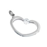 Silver pendant in shape of heart Royalty Free Stock Image