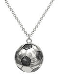 Silver pendant in shape of soccer ball on chain. Isolated on white. High resolution 3D image Royalty Free Stock Photography