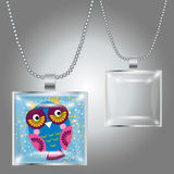 Silver pendant with square clear glass cabochon for your picture Royalty Free Stock Photo