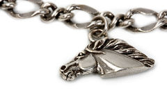 Silver pendants on the chains Royalty Free Stock Photography