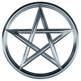 Silver pentagram. Isolated illustration of an ornate silver pentagram Stock Photography