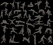 Silver people. Sliver style illustration of people in action Royalty Free Stock Photo