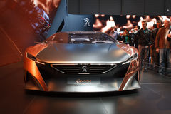 Silver Peugeot Onyx Concept Geneva Motor Show 2015 Royalty Free Stock Images
