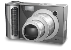 Silver photo camera Stock Image