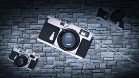Silver photo camera. Vintage. High resolution 3d Stock Photos