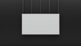 Silver photo frame on black wall 3d render. Ing Stock Image