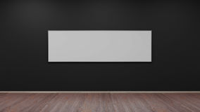 Silver photo frame on black wall 3d render. Ing Stock Images