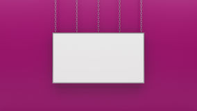 Silver photo frame on pink wall 3d render Royalty Free Stock Photography