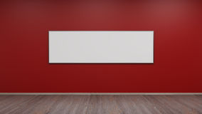 Silver photo frame on red wall 3d render. Ing Royalty Free Stock Photography