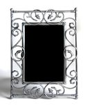 Silver photo frame on white Stock Images
