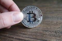 Silver bitcoin Royalty Free Stock Photos