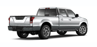 Silver pickup truck - rear angle Royalty Free Stock Photos