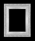 Silver picture frame Isolated on black Royalty Free Stock Photography