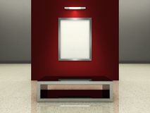 Silver picture frame in a modern gallery. A silver picture frame on a wall inside a modern gallery. (A clipping path for the white content area is included for royalty free illustration