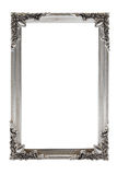 Silver picture frame on white Royalty Free Stock Photo