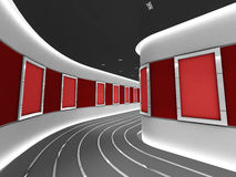 Silver picture frames in a modern gallery tunnel. A silver picture frame on a wall inside a modern gallery tunnel. (A clipping path for the white content area is vector illustration