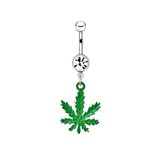 Silver piercing in the shape of marijuana Royalty Free Stock Photography