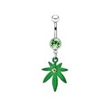 Silver piercing in the shape of marijuana Stock Photography