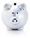Silver piggy bank Stock Photos