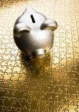 Silver piggy bank Stock Image