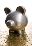 Silver piggy bank Royalty Free Stock Images