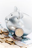 Silver piggy bank with Euros Stock Image