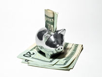Silver Piggy Bank and Money Stock Photo