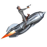 Silver pin-up girl riding on a retro rocket. 3D rendering of a silver pin-up girl riding on a retro rocket with clipping path and shadow over white stock illustration