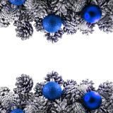 Silver pine cones Christmas decoration on white Royalty Free Stock Photos