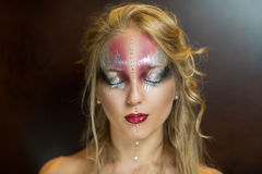 Silver and pink art make up. Young beautiful woman, pretty lady, beauty fashion model, perfect woman, fairy-tale character, silver & pink butterfly, ice queen stock image
