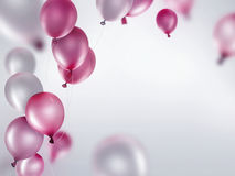 Silver and pink balloons Stock Images