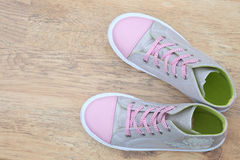 Silver and pink canvas boots Royalty Free Stock Images