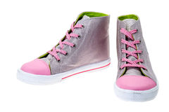 Silver and pink canvas boots Stock Photography