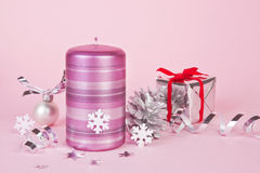 Silver and pink christmas background. Stock Image