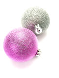 Silver and pink Christmas ornament baubles Royalty Free Stock Photos
