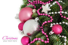 Silver and pink Christmas ornaments border Stock Photography