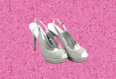 Silver and pink glitter fashion shoes Royalty Free Stock Photo
