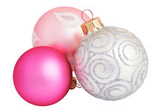 Silver, pink and purple christmas balls close-up isolated. On white background horizontal stock image