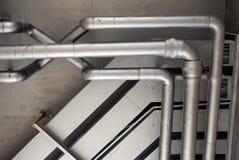 Silver pipeline arrangement Stock Photo