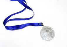 Silver plain metal medal  isolated Stock Images