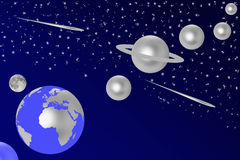 Silver planets Stock Image