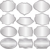 Silver plaques. Set of isolated silver plaques Royalty Free Stock Photography
