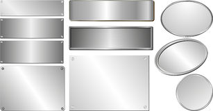 Silver plaques. Set of isolated silver and metallic plaques Stock Image