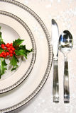 Silver plate setting Stock Photo