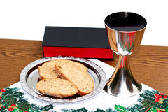 Silver Plate With Bread And Chalice On Christmas Background Royalty Free Stock Images