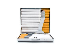 silver-plated cigarette-case with cigarettes Stock Image